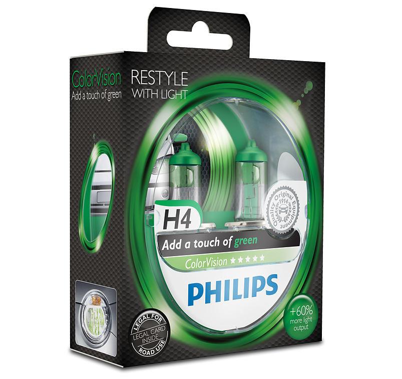Philips ColorVision Green 12342CVPGS2 H4 P43t-38 12V 60/55W 2ks