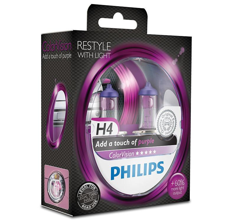 Philips ColorVision Purple 12342CVPPS2 H4 P43t-38 12V 60/55W 2ks