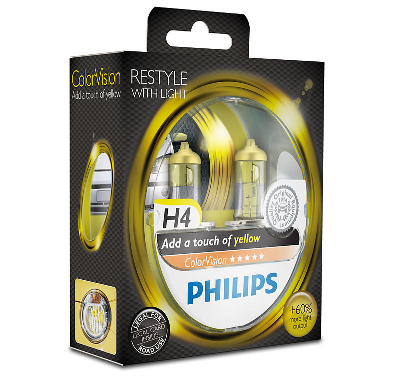 Philips ColorVision Yellow 12342CVPYS2 H4 P43t-38 12V 60/55W 2ks