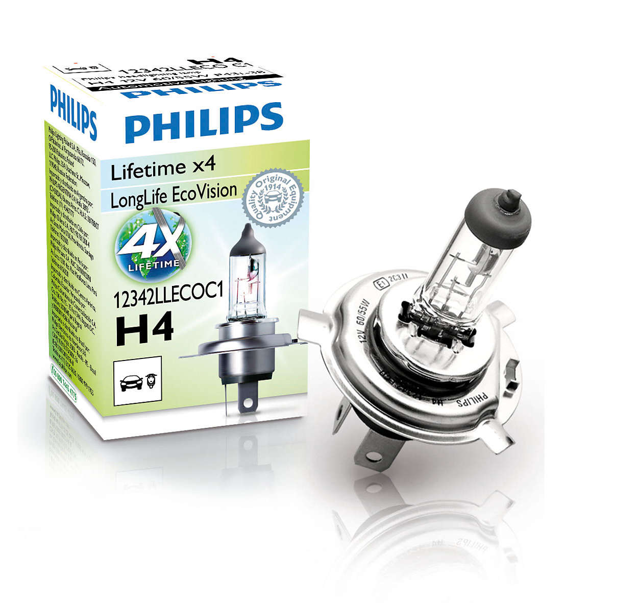 Philips LongLife EcoVision 12342LLECOC1 H4 P43t-38 12V 60/55W 1ks