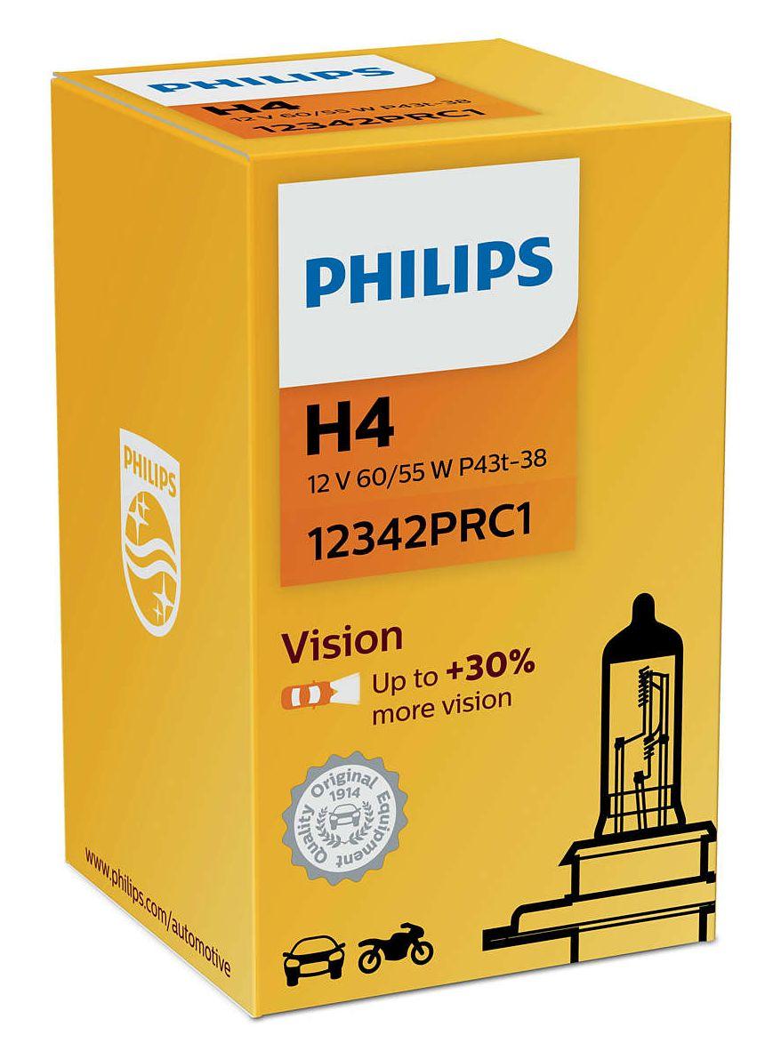 Philips Vision +30% 12342PRC1 H4 P43t-38 12V 60/55W