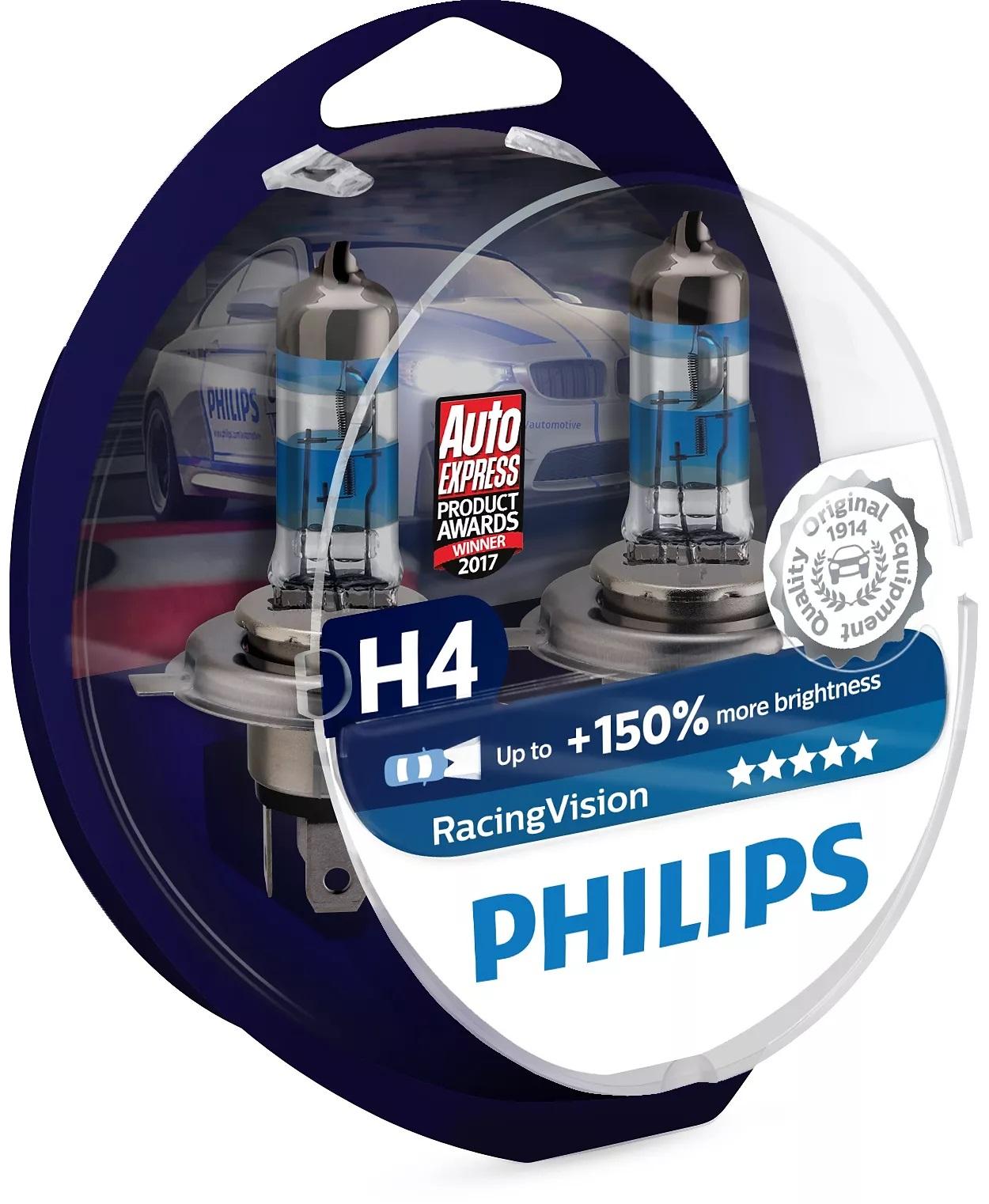 Philips Žárovky 12V H4 60/55W RacingVision +150% 2ks
