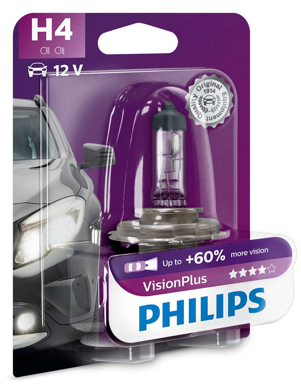 Philips Vision Plus +60% 12342VPB1 H4 P43t-38 12V 60/55W blistr
