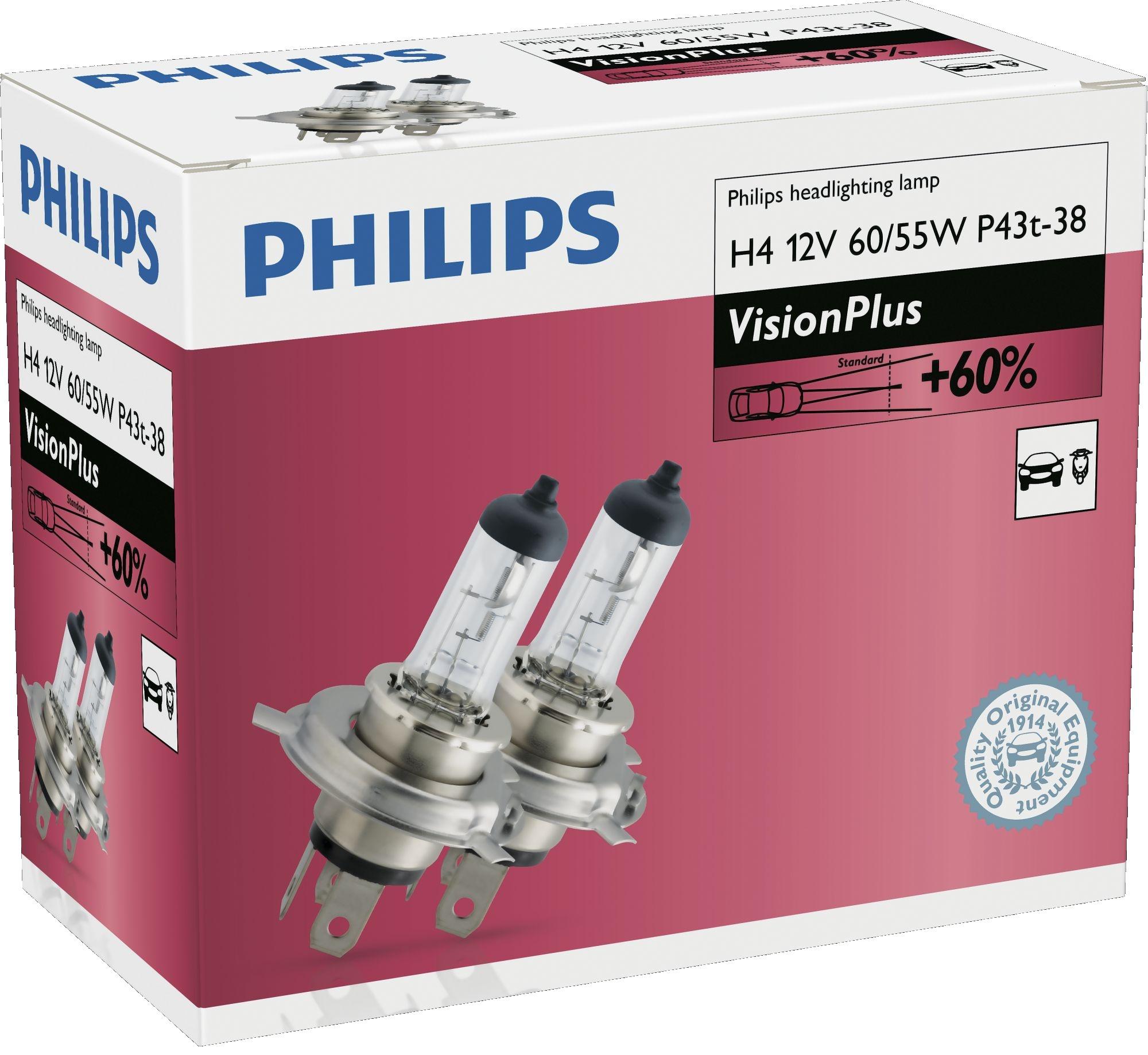 Philips Žárovky 12V H4 60/55W VisionPlus +60% 2ks duopack