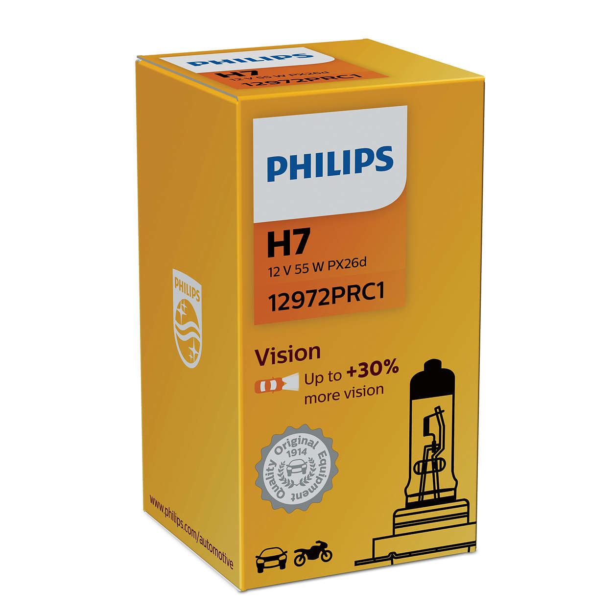 Philips Vision+30% 12972PRC1 H7 PX26d 12V 55W