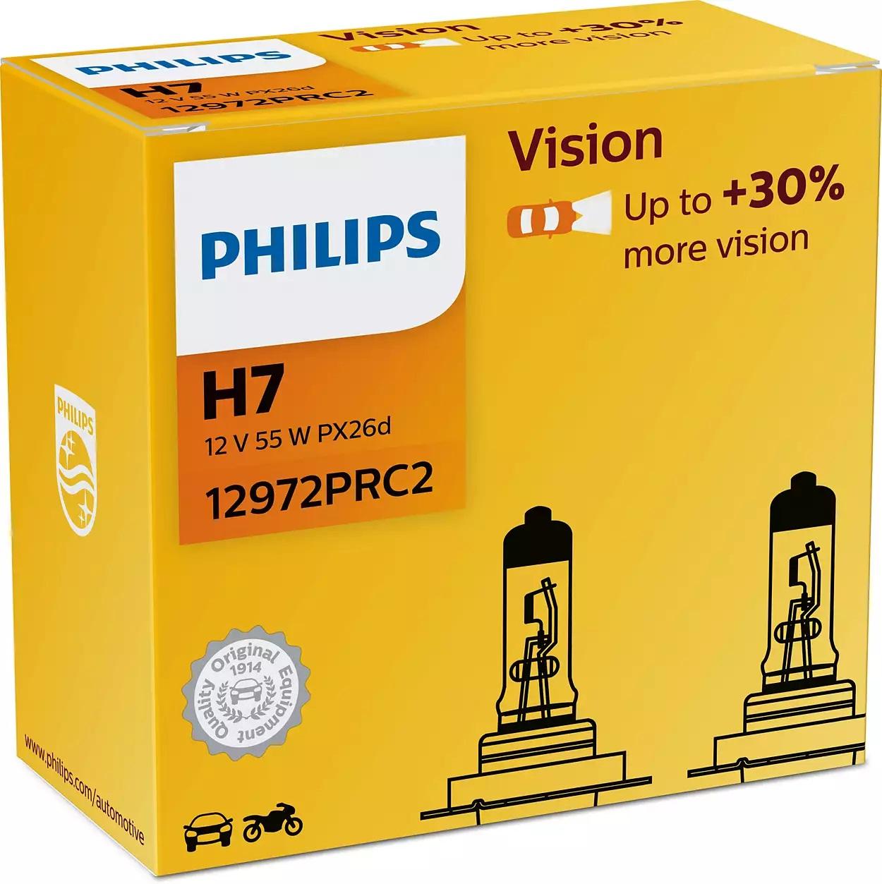 Philips Vision+30% 12972PRC2 H7 PX26d 12V 55W 2ks duopack