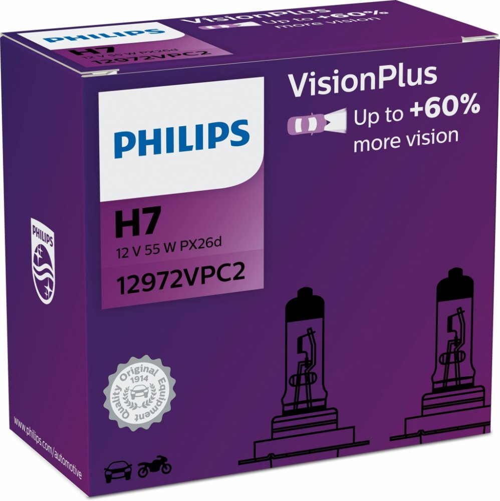 Philips Vision Plus+ 60% 12972VPC2 H7 PX26d 12V 55W 2ks duopack