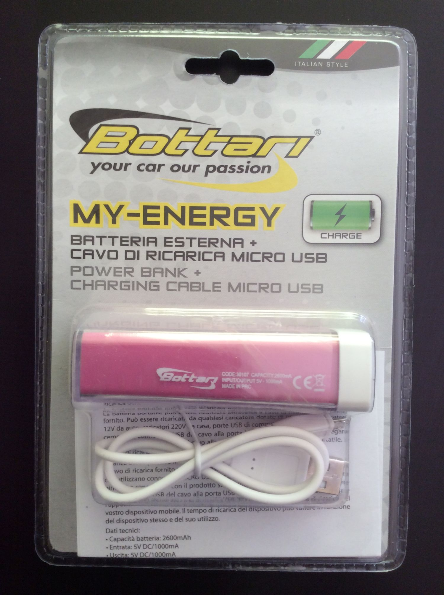 Bottari Baterie power banka + nabíjecí kabel mikro USB 2200mA