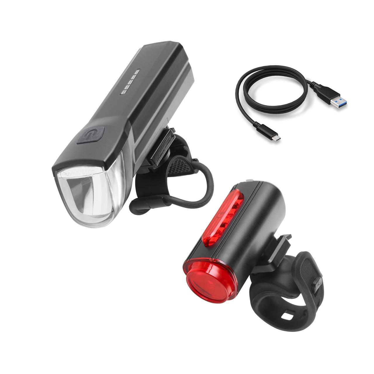 Fischer Sada světel LED na kolo s USB dobíjením