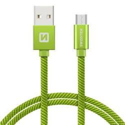 Swissten Datový kabel USB/micro USB TEXTILE 1,2m zelený