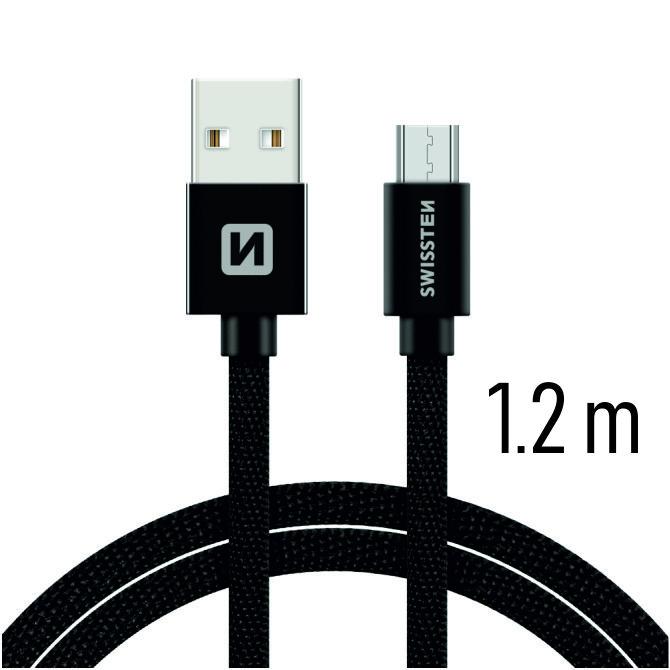 Swissten Datový kabel USB/micro USB TEXTILE 1,2m černý
