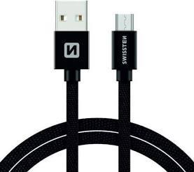 Swissten Datový kabel USB/micro USB TEXTILE 3m černý