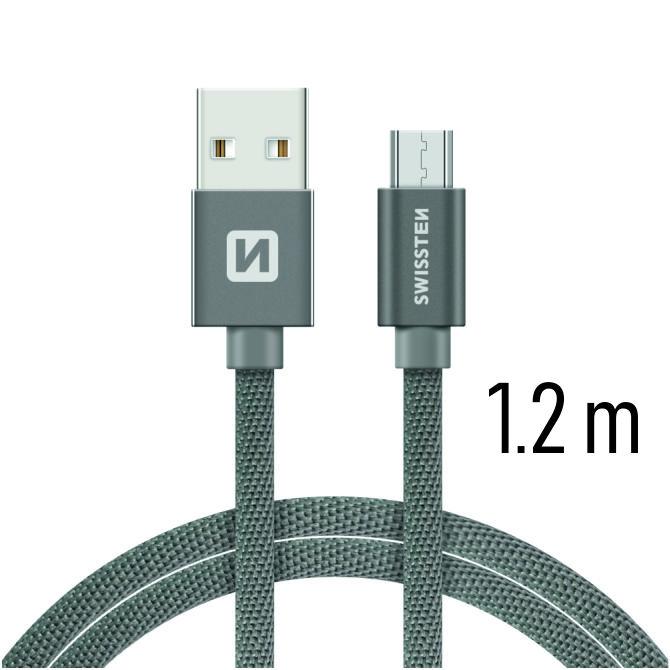 Swissten Datový kabel USB/micro USB TEXTILE 1,2m šedý