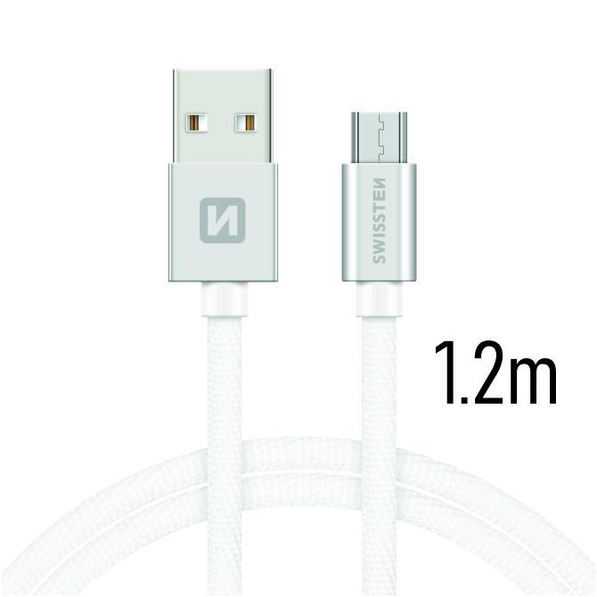 Swissten Datový kabel USB/micro USB TEXTILE 1,2m stříbrný