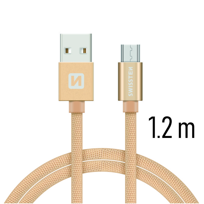 Swissten Datový kabel textile USB/micro USB 1,2m zlatý