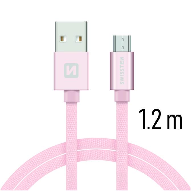 Swissten Datový kabel USB/micro USB TEXTILE 1,2m růžovo/zlatý