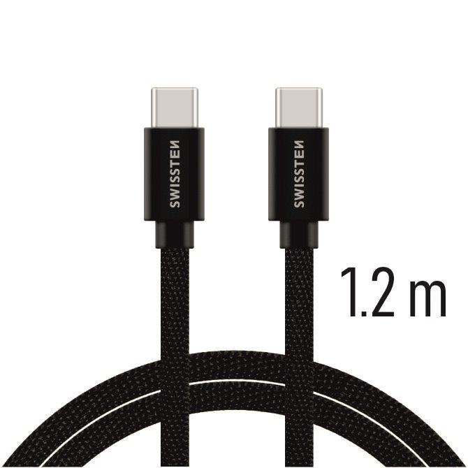 Swissten Datový kabel textile USB-C/USB-C 1,2m černý