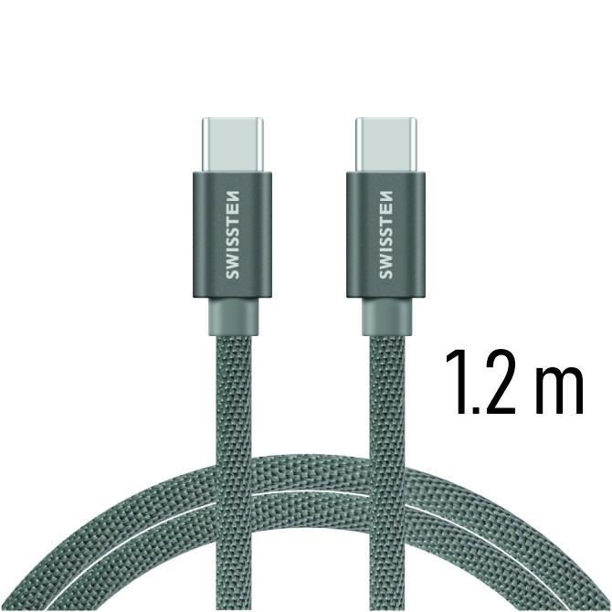 Swissten Datový kabel textile USB-C/USB-C 1,2m šedý