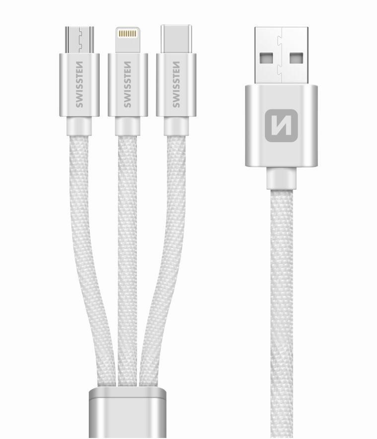 Swissten Datový kabel Textile 3v1 MFi 1,2 m stříbrný