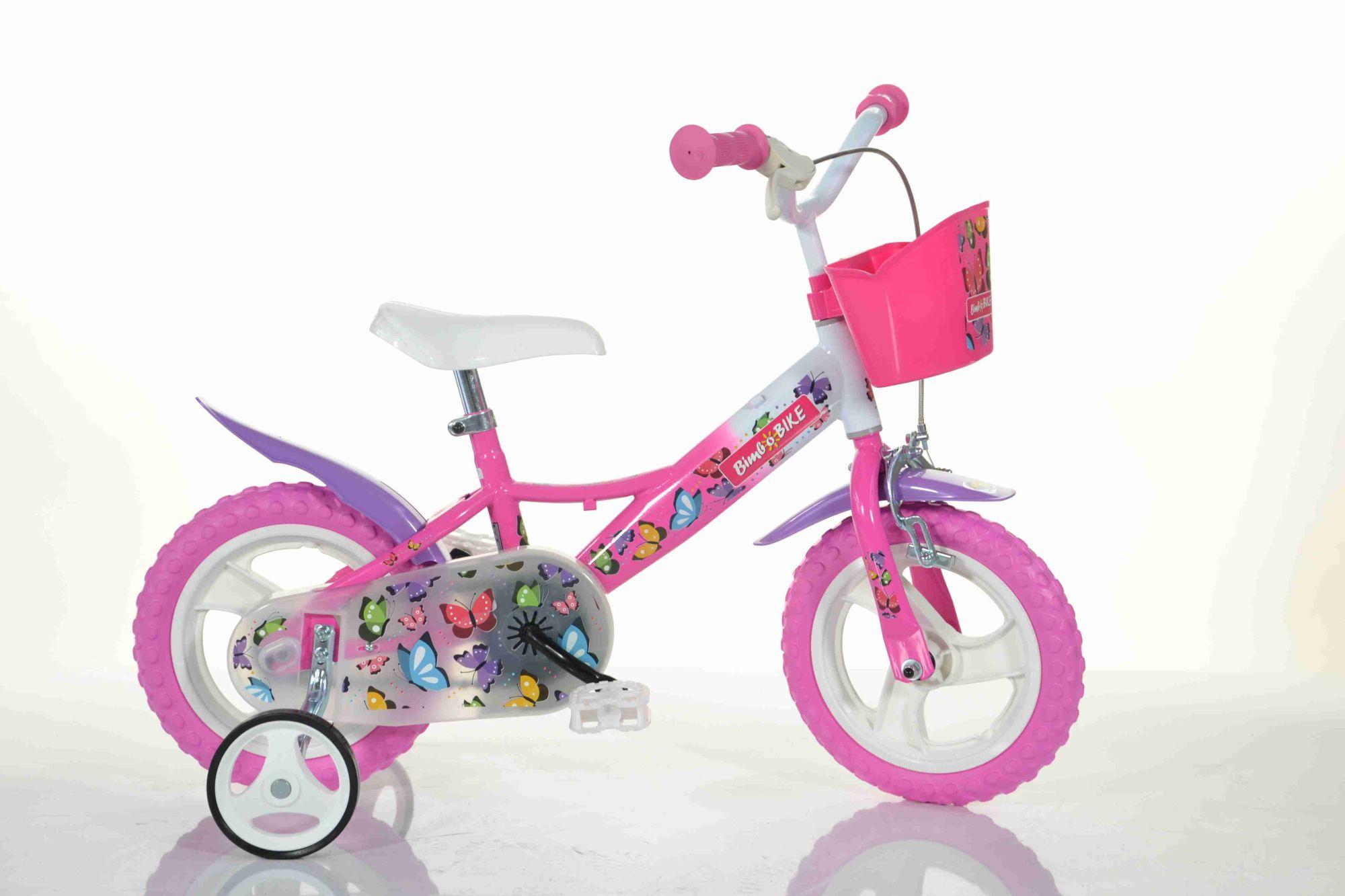BimboBike GIRL BUTTERFLY 77338 růžovo-bílé MTB 12''