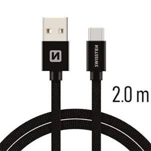 Swissten Datový kabel USB/USB-C TEXTILE 2m černý