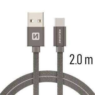 Swissten Datový kabel USB/USB-C TEXTILE 2m šedý
