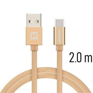 Swissten Datový kabel USB/USB-C TEXTILE 2m zlatý