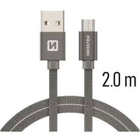 Swissten Datový kabel USB/micro USB TEXTILE 2m šedý