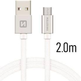 Swissten Datový kabel USB/micro USB TEXTILE 2m stříbrný