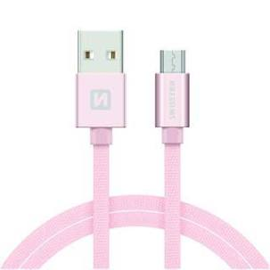 Swissten Datový kabel USB/micro USB TEXTILE 2m růžovo/zlatý