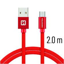 Swissten Datový kabel USB/micro USB TEXTILE 2m červený