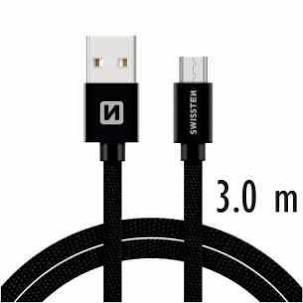 Swissten Datový kabel USB/USB-C TEXTILE 3m černý