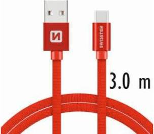 Swissten Datový kabel USB/USB-C TEXTILE 3m červený
