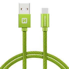 Swissten Datový kabel USB/USB-C TEXTILE 2m zelený