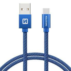 Swissten Datový kabel USB/USB-C TEXTILE 2m modrý