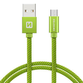 Swissten Datový kabel USB/micro USB TEXTILE 2m zelený