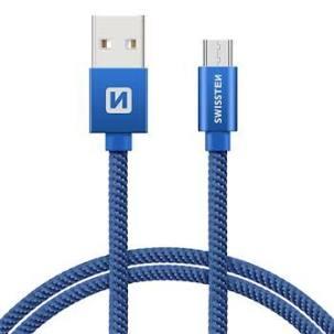 Swissten Datový kabel USB/micro USB TEXTILE 2m modrý