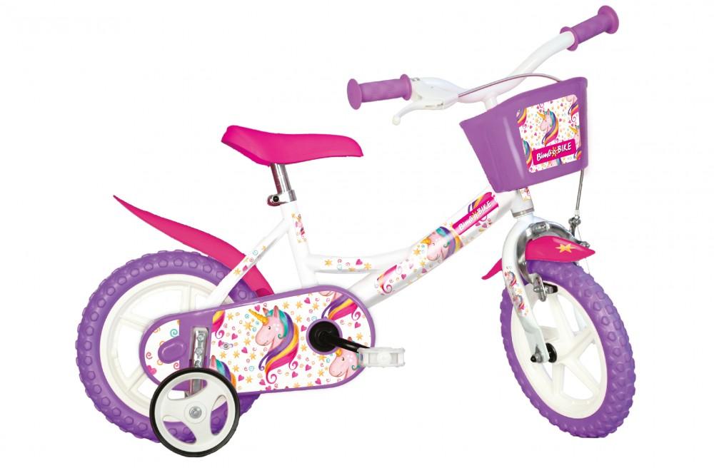 BimboBike GIRL UNICORN 77328 růžovo-fialovo-bílé MTB 12''
