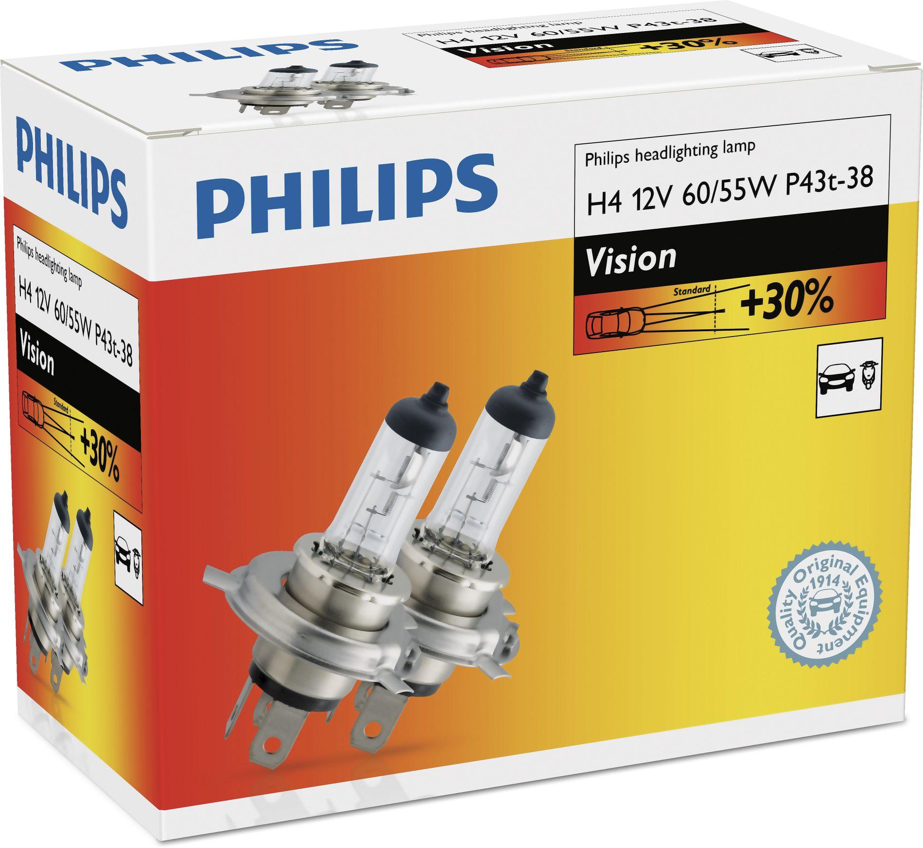 Žárovky 12V H4 60/55W Philips Vision +30% 2ks duopack