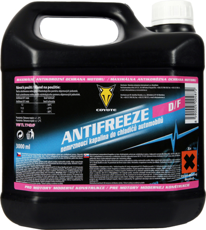Coyote Antifreeze nemrznoucí směs do chladičů D/F 3l