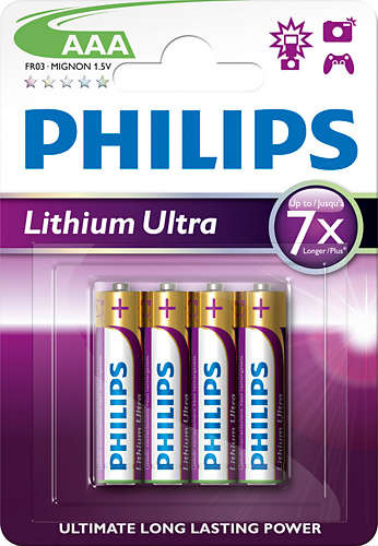 Baterie PHILIPS Lithium Ultra AAA 4ks