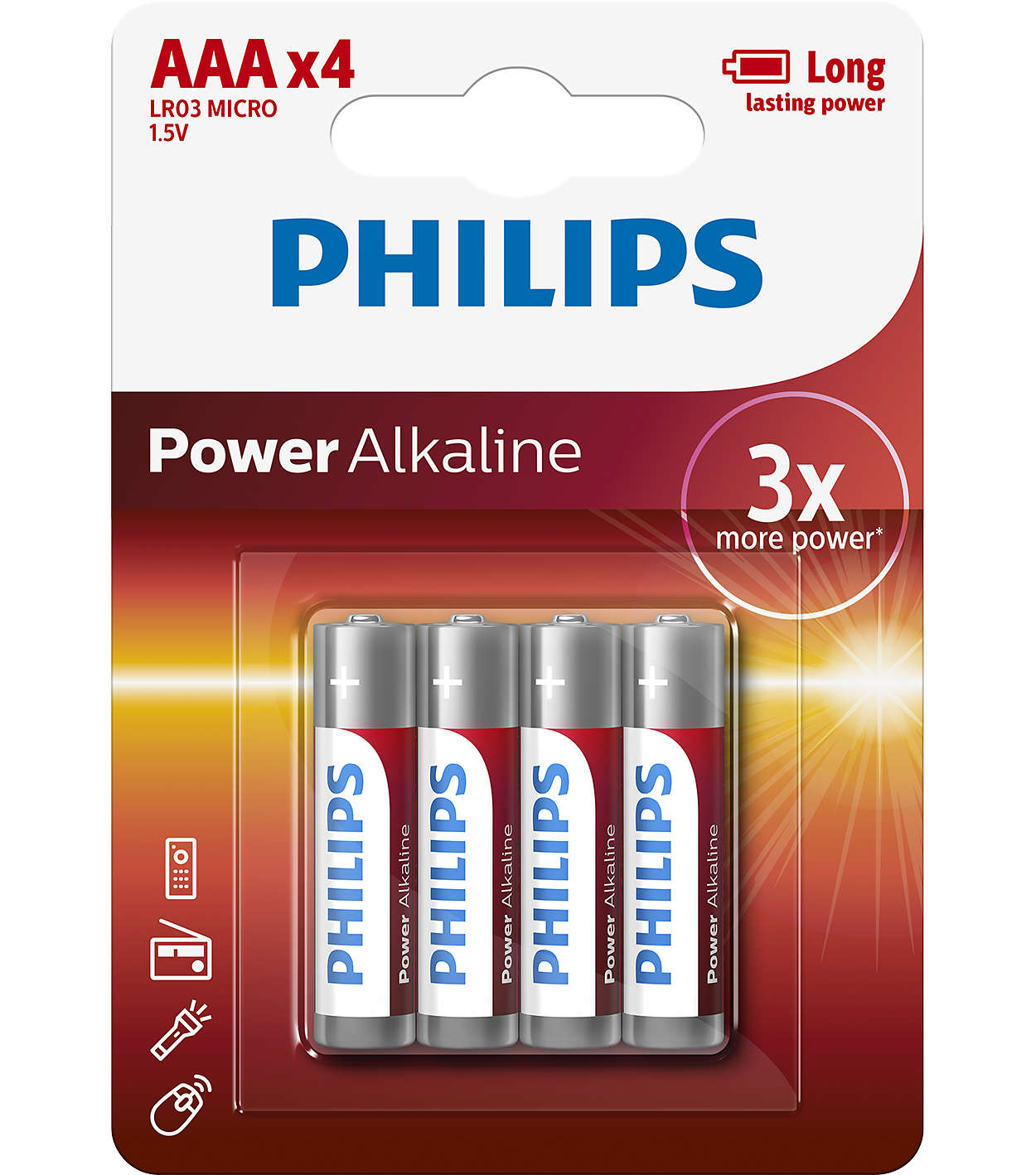 Philips Baterie Power alkaline AAA 4ks