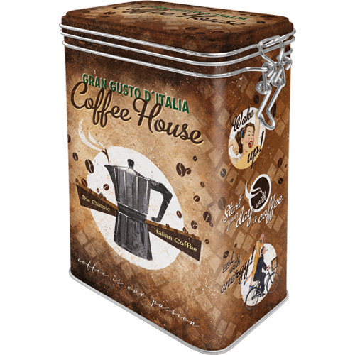 Retro dóza plechová s klipem Coffee House