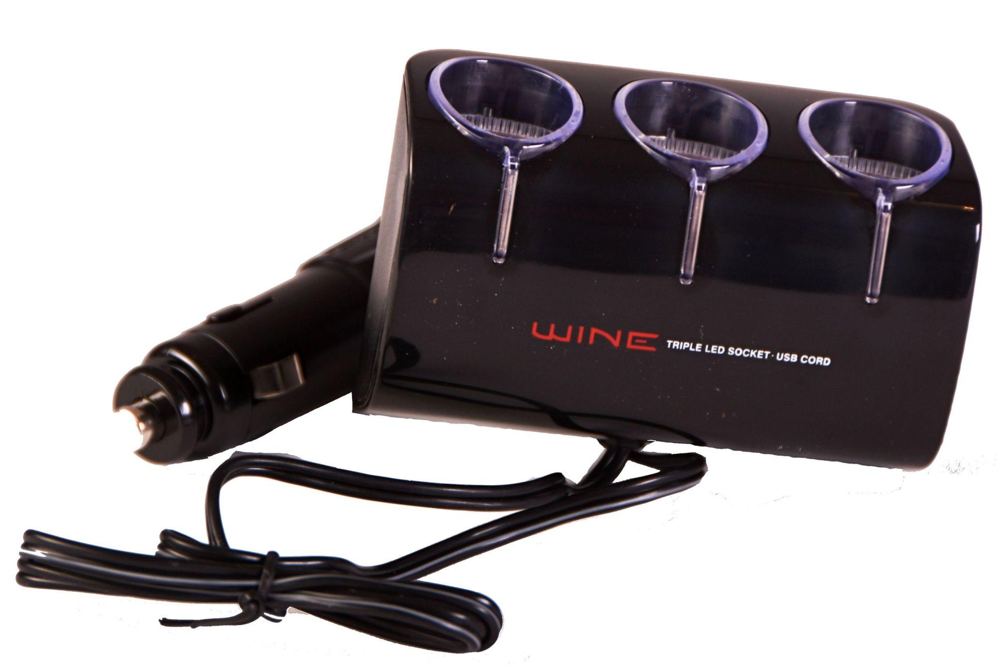 Roztrojka WINE 12/24V s USB otočná s kabelem