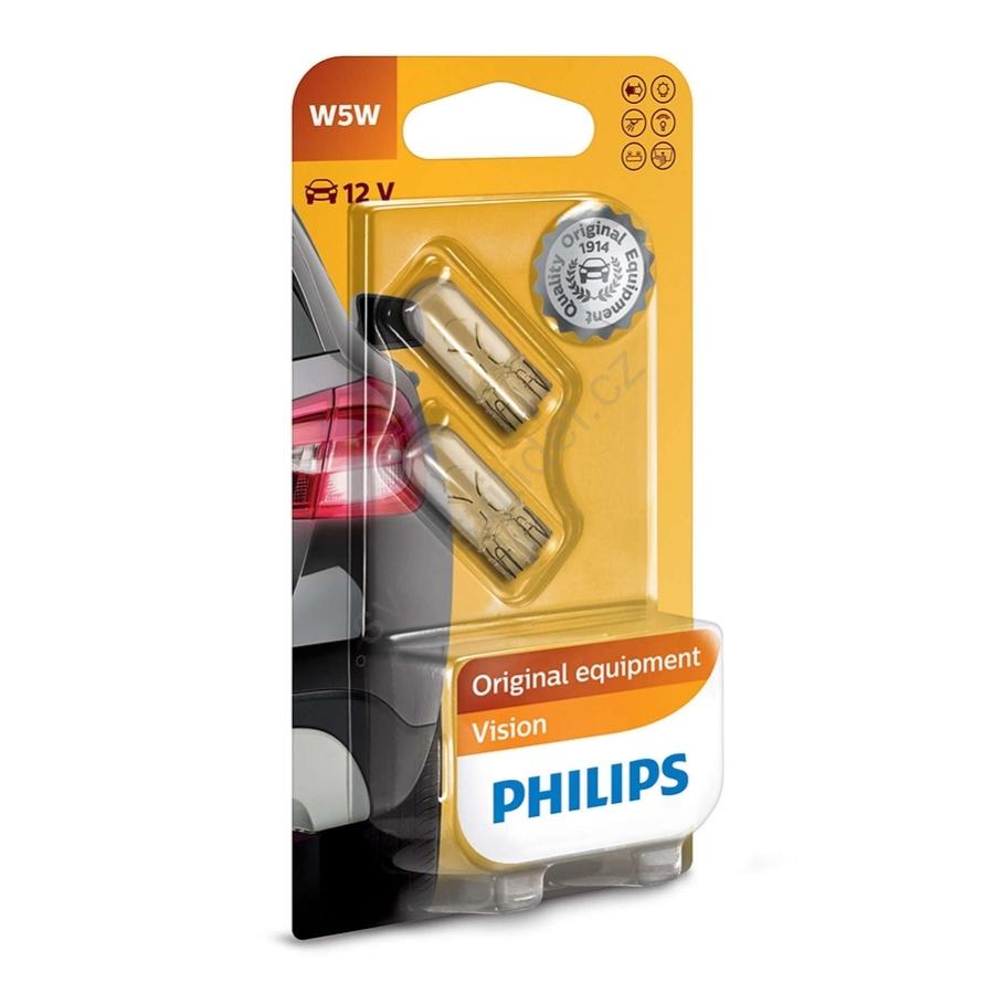 Philips Vision 12961B2 W5W W2,1 x 9,5d 12V 5W sklo 2ks
